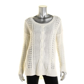 Aqua Womens Cable Knit Hi-Low Pullover Sweater