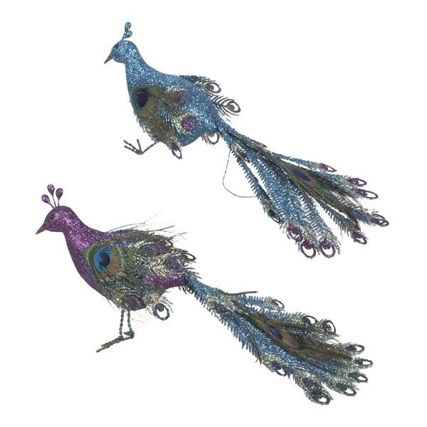 kurt adler glittery blue and purple peacock birds holiday ornaments set of 2 - Bird Christmas Ornaments