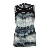 NY Collection Women's Illusion Crochet Jersey Tank Top - Black Multi - XS