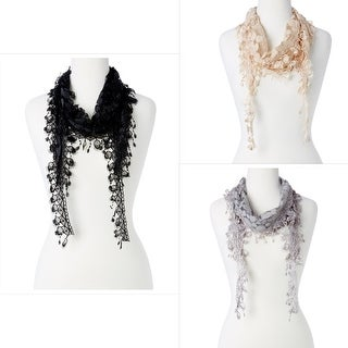 Women's Sheer Lace Crochet Scarf Lightweight Triangle Fringes Scarfs for Women Fashion