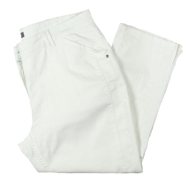 Basler Womens Plus Capri Pants Straight Leg Stretch - White. Opens flyout.