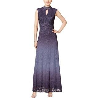 Alex Evenings Womens Formal Dress Lace Mock-Neck