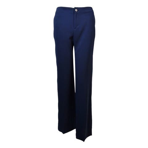 Lauren Ralph Lauren Women's Side Pocket Wide Leg Pants - Navy - 4P