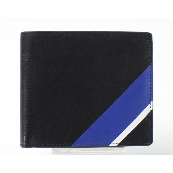 Polo Ralph Lauren NEW Black Blue Striped Bifold Men's Leather Wallet