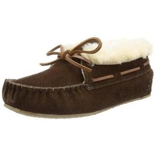 Minnetonka Womens Chrissy Leather Faux Fur Bootie Slippers
