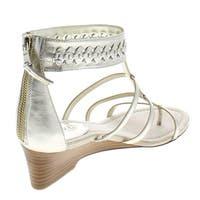 Lauren Ralph Lauren Womens Meira Leather Ankle Cuff Wedge Sandals - 9.5