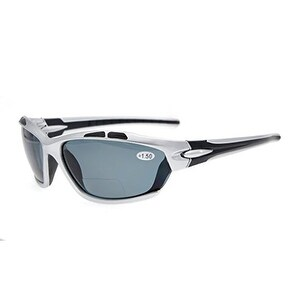 Eyekepper TR90 Sports Polarized Bifocal Sunglasses Silver Frame Grey Lens +2.5