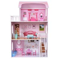 Costway Kids Wood House Playset Doll Cottage Dollhouse w/ Furniture Children Gift Toy - Pink