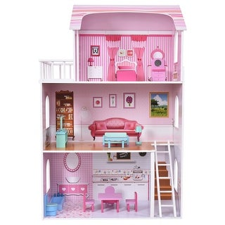 Costway Kids Wood House Playset Doll Cottage Dollhouse w/ Furniture Children Gift Toy