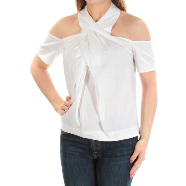 d1a0d37a4d585e Shop RACHEL ROY Womens White Cold Shoulder Short Sleeve Halter Top Size  0  - Free Shipping On Orders Over  45 - Overstock - 22425821