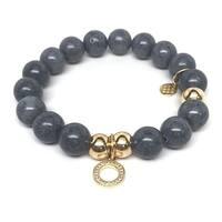 "Grey Jade Circle Charm 7"" Bracelet"