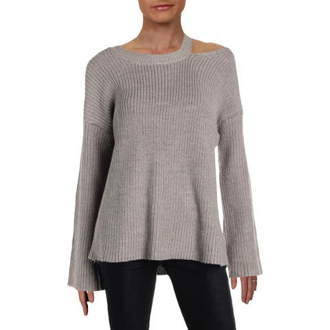 Aqua Womens Crewneck Sweater Cold Shoulder Cutout