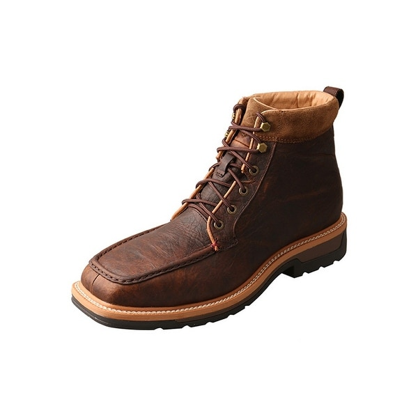 Twisted X Work Boots Mens Lace WP Red Buckle Rubber Dark Brown