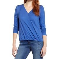 Caslon Blue Womens Size Medium M Surplice Hi-Low Gathered Knit Top