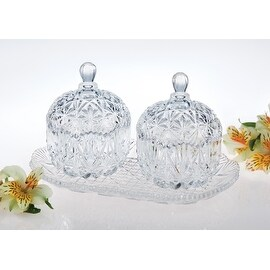 Studio Silversmiths Crystal Double Mini Canisters with Tray