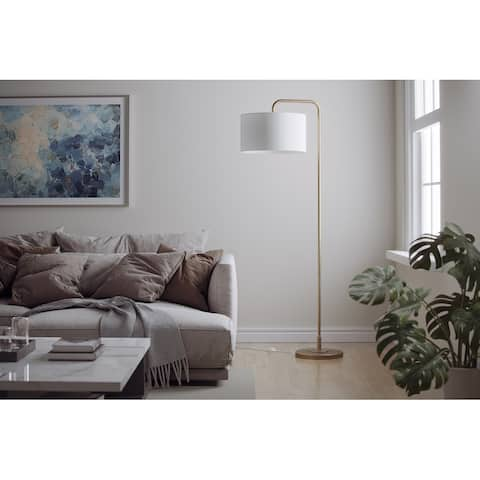 Porch & Den Sandpines Plated Gold Bent Arm Floor Lamp with White Drum Shade - Gold Plated