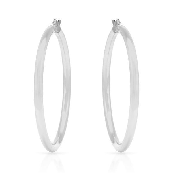 Mcs Jewelry Inc 14 KARAT WHITE GOLD LARGE CLASSIC HOOP EARRINGS (DIAMETER: 50MM)