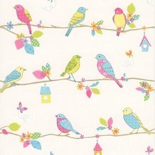 Brewster 443-90502 Social Birdie White Quilted Birds Wallpaper