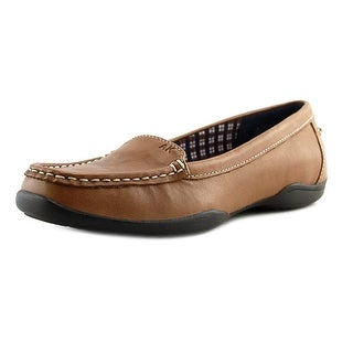 Anne Klein Gabby Women Moc Toe Leather Tan Loafer (Option: Comfortable)