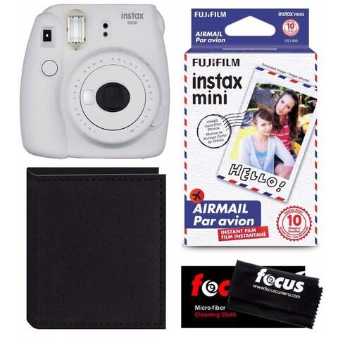 Fujifilm Instax Mini 9 (Smokey White) Instant Camera w/ Accessory Bundle