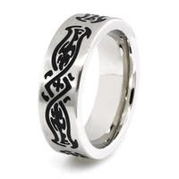 Stainless Steel Ring w/ Tribal Design