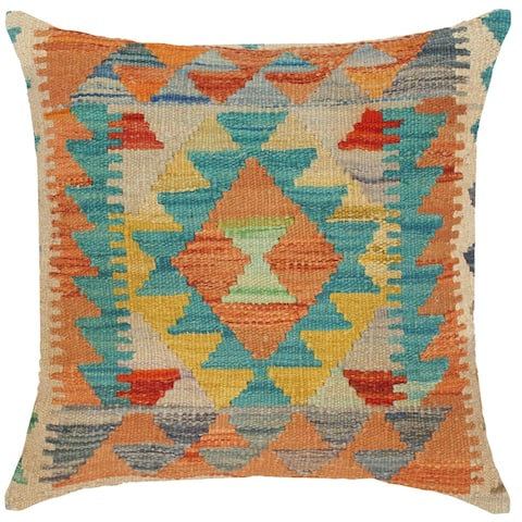 Boho Chic Daine Hand-Woven Turkish Kilim Throw Pillow