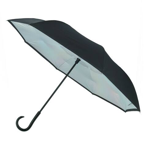 ShedRain Women's UnbelievaBrella Reverse Closing Iridescent Stick Umbrella - one size
