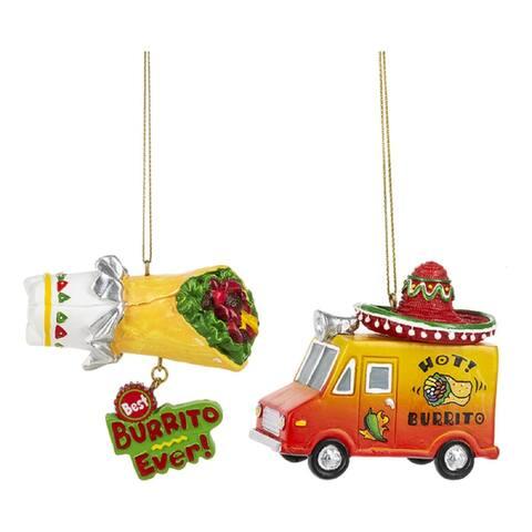 Fiesta Burrito Food Truck and Burrito Christmas Holiday Ornaments Set of 2