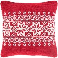 "18"" Santa Red and Snowy White Decorative Snowflake Christmas Throw Pillow –Down Filler"