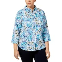 Karen Scott Womens Plus Button-Down Top Floral Print Long Sleeves