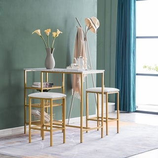 Link to Breakfast Bar Bistro Table and Cushion Stool Dining Set with Shelf Marble Gold Similar Items in Dining Room & Bar Furniture