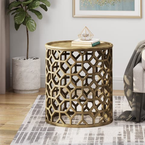 Fenwick Modern Glam Handcrafted Aluminum Accent Table by Christopher Knight Home