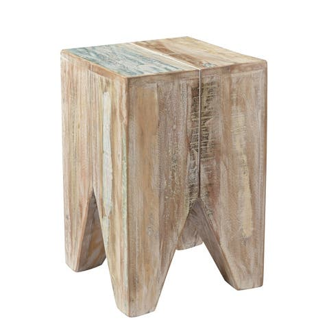 Geometric Salvaged Stripped Wood Stool - 20 x 13 x 13 inches