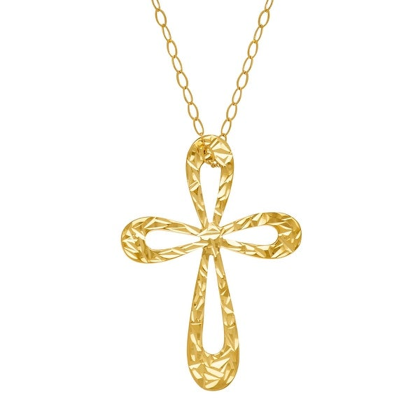 Just Gold Etched Open Cross Pendant in 10K Yellow Gold