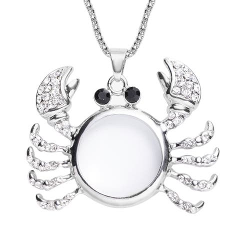 Platinum Plated Magnifying Glass White Crystal Necklace Pendant Inch - Size 28''