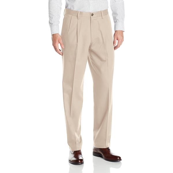 low priced authorized site stylish design Dockers Mens Pants Beige Size 34 Pleated Front Classic Khakis Stretch