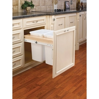 Rev-A-Shelf 4WCTM-24DM2 4WCTM Top Mount Double Bin Trash Can with Full - Natural Wood