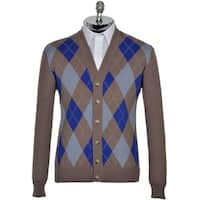 Argyle Culture Russell Simmons Mens Argyle Cardigan Sweater Large Brown