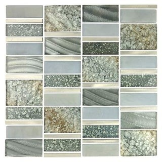 Miseno MT-EMPEROR113/4SQ Emperor - Glass Visual - Wall Tile (Sold by Sheet) - Silver