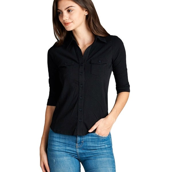 NE PEOPLE WOMEN'S Cozy Half Sleeve Button Down Shirt with Side Rib Panel