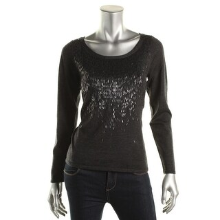 Eileen Fisher Petites Embellished Wool Pullover Sweater - ps