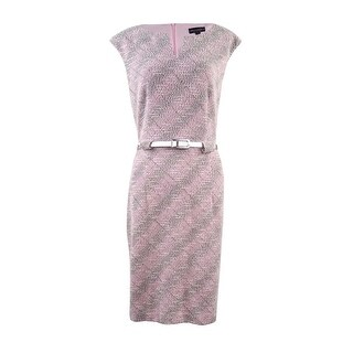 Connected Women's Belted Cap Sleeve Stretchable Knit Dress - Pink