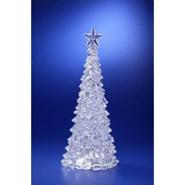 Pack of 2 Icy Crystal Illuminated Christmas Pine Tree with Star Figures 15""
