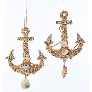 Ships Anchors with Shells Christmas Holiday Ornaments Wooden Set of 2