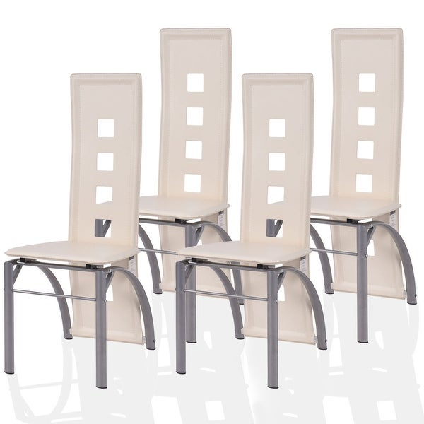 Costway Set Of 4 Dining Chairs Pu Leather Steel Frame High Back Home Furniture White