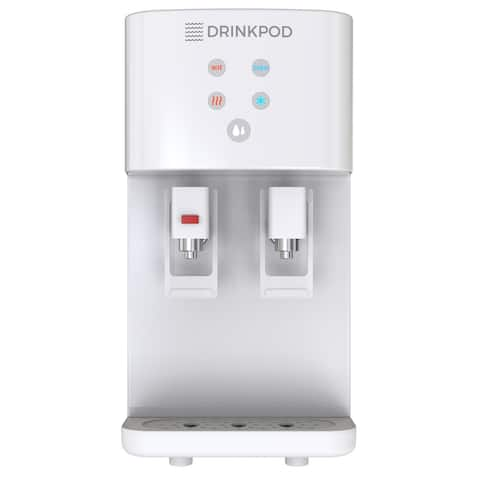 Drinkpod 2000 Series Bottleless Hot & Cold Water Cooler Dispenser. 4 Filters, Installation Kit and Cafe Connect (White)