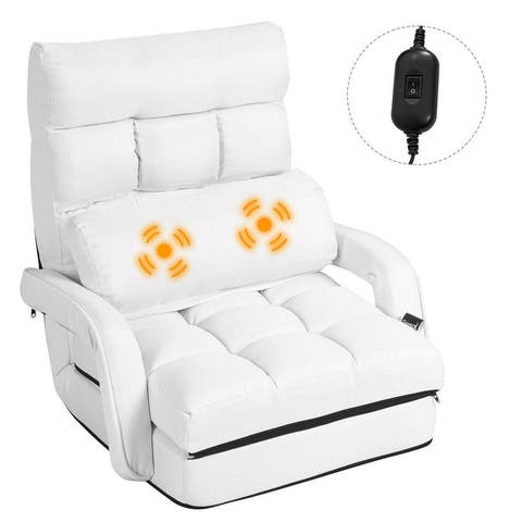 Costway Folding Floor Single Sofa Massage Recliner Chair W/ a Pillow 5 - 69.5'' X 27'' X 5.5'' (LX WX H)