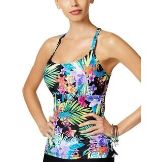 Island Escape Womens Montage Gardens Strappy Tankini Top 10 Black Multi Swimsuit