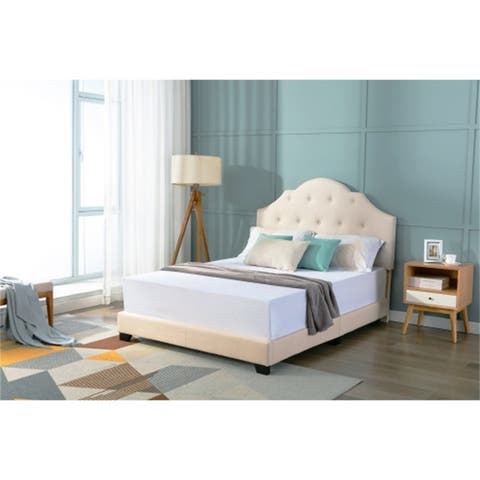 Wooden Upholstered Low Full Platform Bed With Button Tufted,Beige