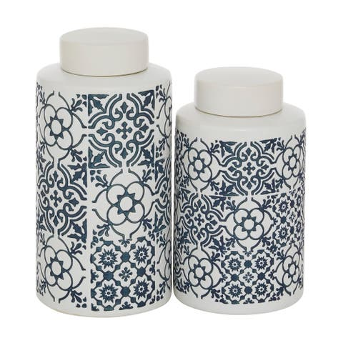 2 Pcs English Cottage Ceramic Jars For Kitchen Counter White And Blue - 6 x 6 x 11